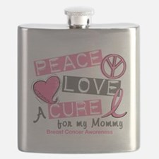 - Peace Love A Cure Breast Cancer Flask