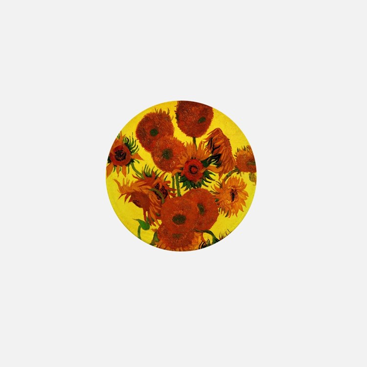 Van Gogh Fifteen Sunflowers Mini Button