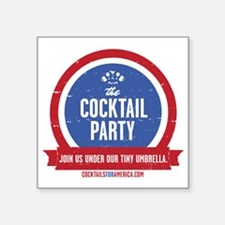 "Cocktail Party Square Sticker 3"" x 3"""