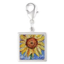 Sunflower!Colorful flower art Silver Square Charm