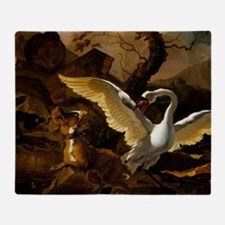 A Swan Enraged by Hondius Throw Blanket