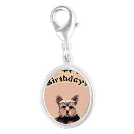 Birthday Yorkshire Terrier Silver Oval Charm