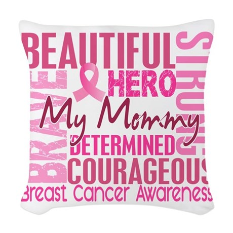 - Tribute Square Breast Cancer Woven Throw Pillow