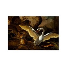 A Swan Enraged by Hondius Rectangle Magnet