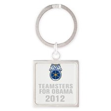 Teamsters For Obama Square Keychain