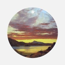 A Sunset by Frederick Edwin Church Round Ornament