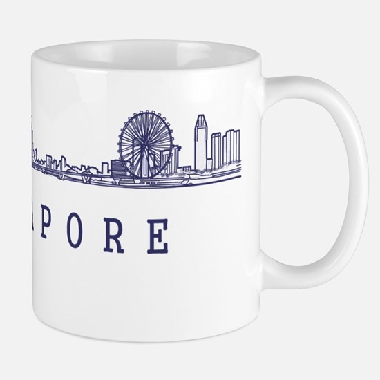 Singapore_10x10_Skyline_Wide_Blue Mug