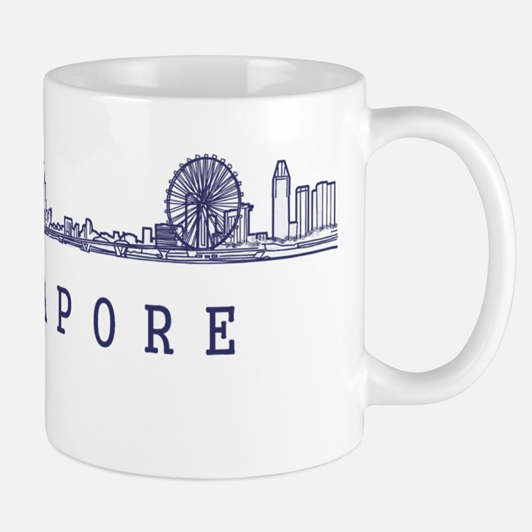Singapore_10x10_Skyline_Wide_Blue Mug