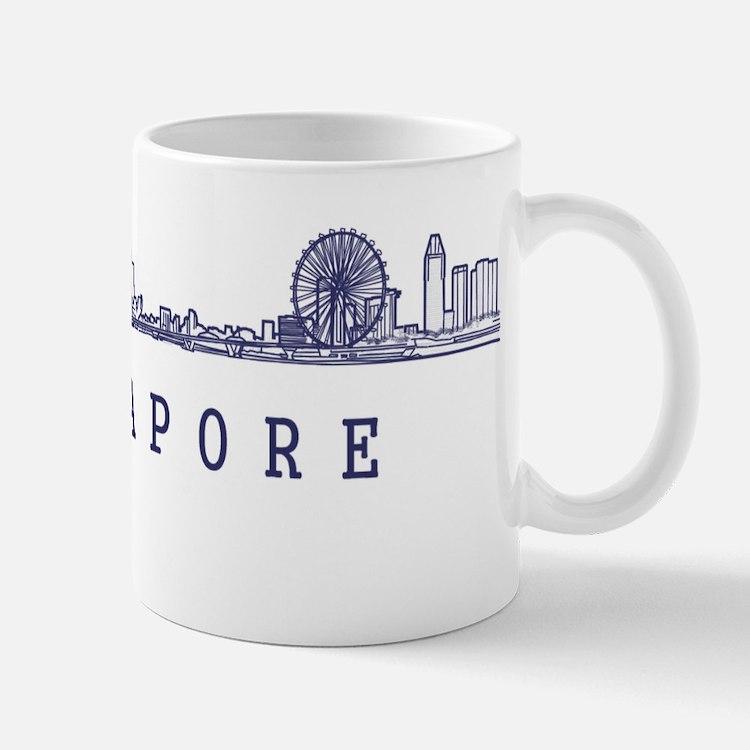 Singapore_10x10_Skyline_Wide_Blue Small Small Mug