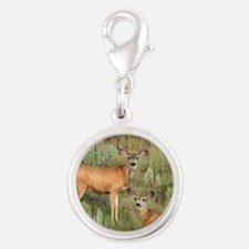 Mule deer velvet Silver Round Charm