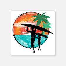 """Retro Summer Time Fun Square Sticker 3"""" x 3"""""""