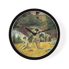 Paul Gauguin Bathing In The Mill Wall Clock