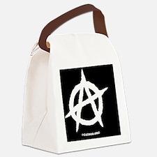 R-AnaOvalStickerBlackOnWhite-b Canvas Lunch Bag