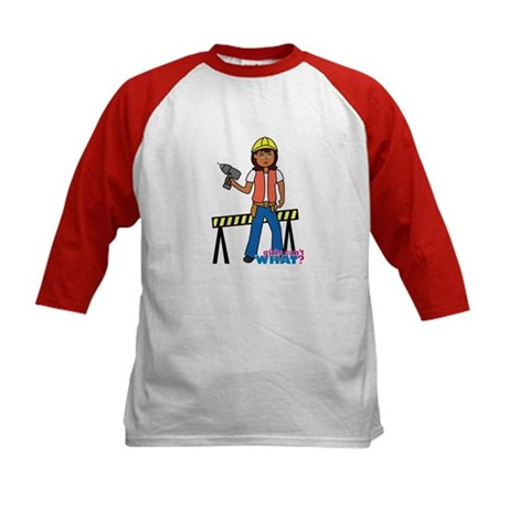 Construction Worker Woman Kids Baseball Jersey
