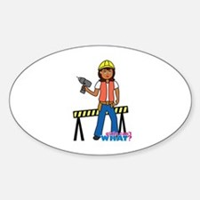 Construction Worker Woman Sticker (Oval)