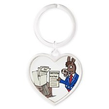 Democrats at Work - middle Heart Keychain