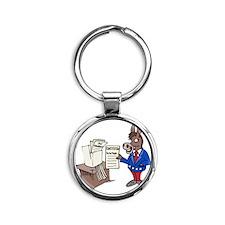 Democrats at Work - middle Round Keychain
