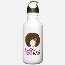 I love my hair pink Water Bottle