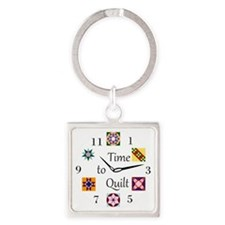 Time to Quilt Clock Square Keychain
