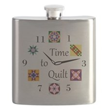 Time to Quilt Clock Flask