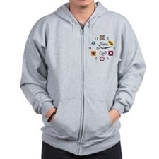 Time to Quilt Clock Zip Hoodie