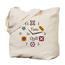 Time to Quilt Clock Tote Bag