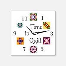 "Time to Quilt Clock Square Sticker 3"" x 3"""