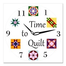 "Time to Quilt Clock Square Car Magnet 3"" x 3"""