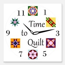 """Time to Quilt Clock Square Car Magnet 3"""" x 3"""""""