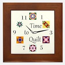 Time to Quilt Clock Framed Tile