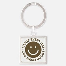 IPoopEveryDay_Brown Square Keychain