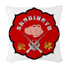 Red Shorin-Ryu Logo Woven Throw Pillow