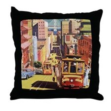 Vintage San Francisco Throw Pillow