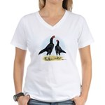Shamo Rooster and Hen Women's V-Neck T-Shirt