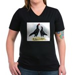 Shamo Rooster and Hen Women's V-Neck Dark T-Shirt