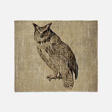 Vintage Owl Throw Blanket