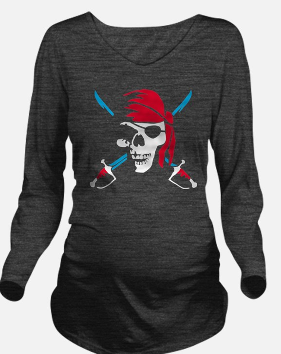 pirate saber skull a Long Sleeve Maternity T-Shirt