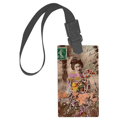 Vintage_Chick Smiling Geisha Gir Large Luggage Tag