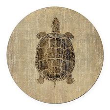 Vintage Turtle Round Car Magnet