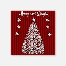 "Merry and Bright Square Sticker 3"" x 3"""
