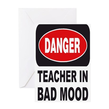 Vintage_Chick Teacher In Bad Mood Greeting Card
