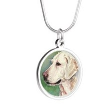 Yellow Lab Silver Round Necklace