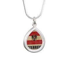 Vintage Austria Silver Teardrop Necklace