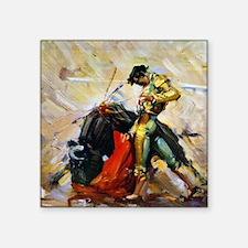 "Vintage Bullfighting Square Sticker 3"" x 3"""