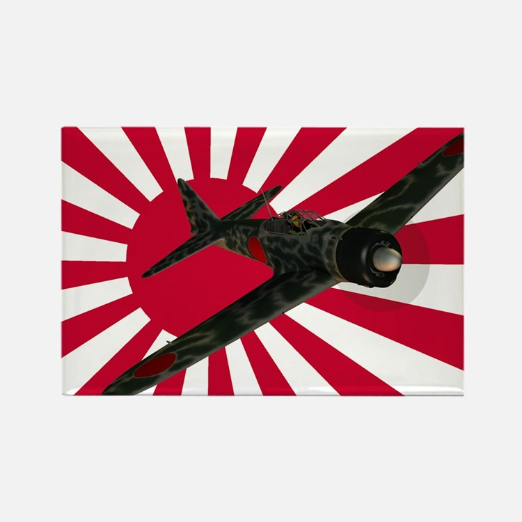 Zero Fighter Aircraft Rectangle Magnet