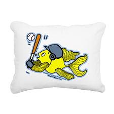 Fish Playing Baseball, B Rectangular Canvas Pillow