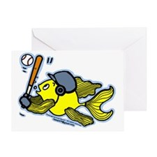 Fish Playing Baseball, Baseball Fish Greeting Card