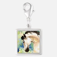 Spring Horse Silver Square Charm