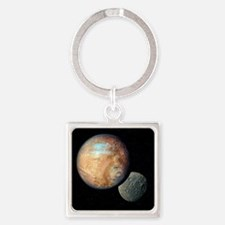 Pluto and Charon Square Keychain