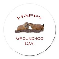 Groundhog Day Kiss Round Car Magnet